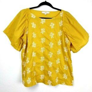 LOFT Marigold Embroidered Flutter Sleeve Bouse